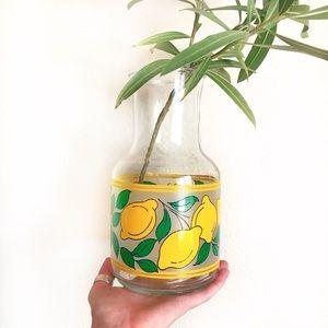 Vintage Inspired Lemon Glass Vase or Juice Jar